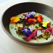 Jason Fox: Spring Garlic Custard with Abalone, Mushrooms and Wildflowers