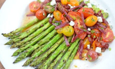 Keoni Chang: Grilled Asparagus with Crispy Pipikaula and Blistered Tomato Vinaigrette