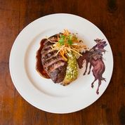 Dean Fearing: South Texas Nilgai Antelope with Cactus Pear Glaze, Chile-Braised Rabbit Enchiladas, Jicama–Carrot Slaw and Red and Green Chile Sauces