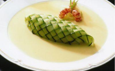 Hiroyuki Sakai: Zucchini-Wrapped Kahuku Prawns with Clam Sauce