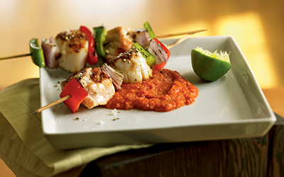 Cat Cora: Salmon Skewers with Romesco Sauce
