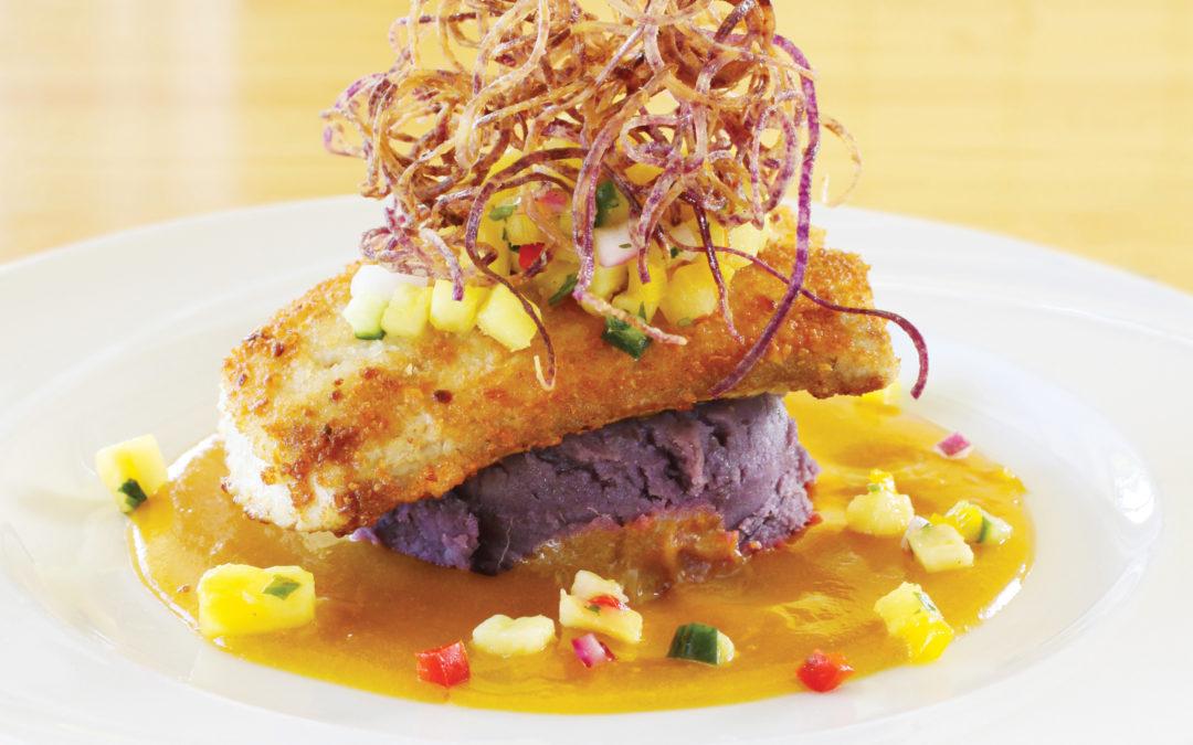 Beverly Gannon: Macadamia Nut-Crusted Mahimahi with Mango Beurre Blanc, Pineapple Salsa and Purple Sweet Potatoes