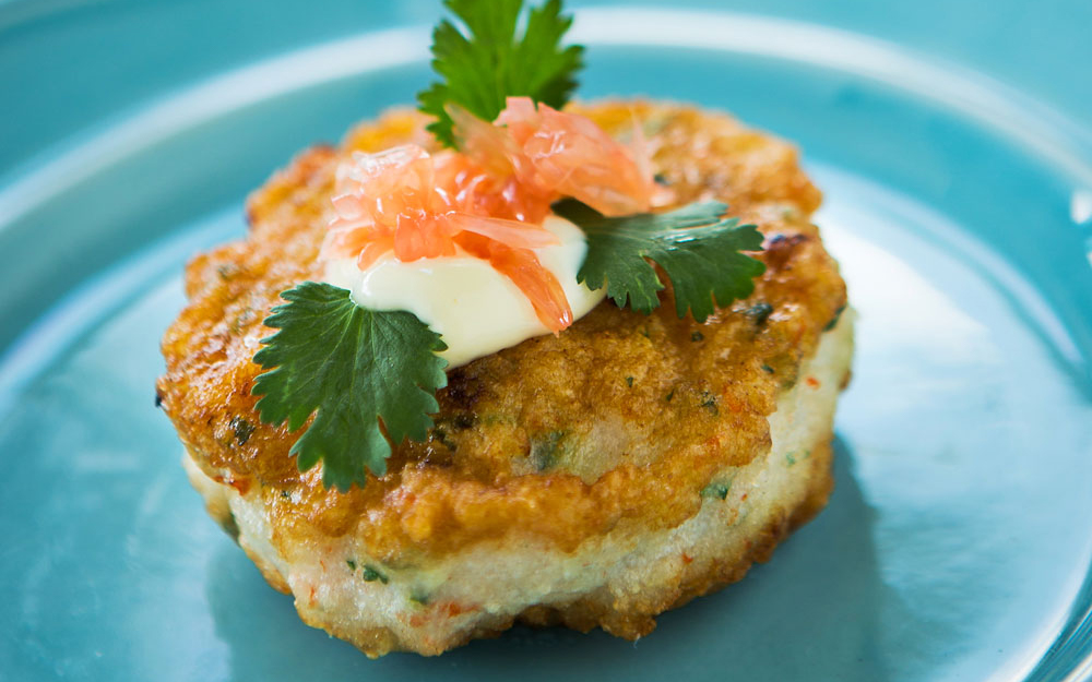 Michelle Bernstein: Shrimp Cakes with Ginger Mayonnaise and Grapefruit